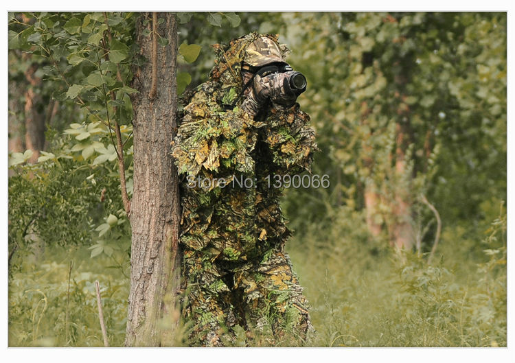 ФОТО 3D Realistic Camouflage Hunting Clothing Breathable Camo Leaves Yowie Sniper Archery Ghillie Suit