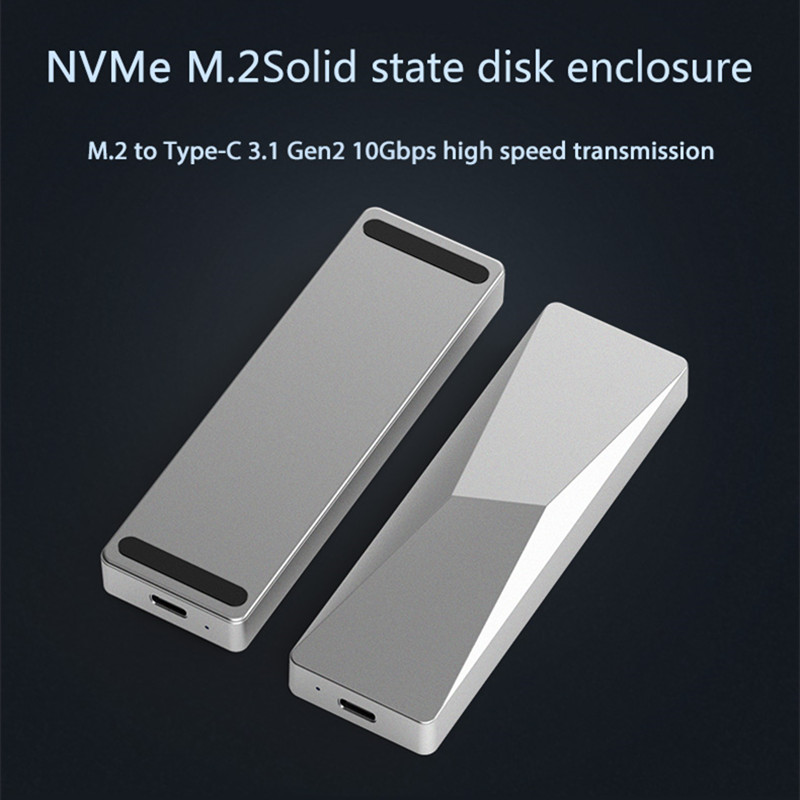 Portable SSD Enclosure Support PCIe M.2 Nvme Ssd Cases Type C 3.1 Gen2 10Gbps High Speed Transmission Hard Drive Enclosure