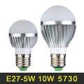 QUENTE Lâmpada LED E27 5 W 10 W Lâmpada LED 110 V 220 V LEVOU Lampada luz SMD5730 Luzes LED de Iluminação de Alta Qualidade De Alumínio Branco Quente/Frio