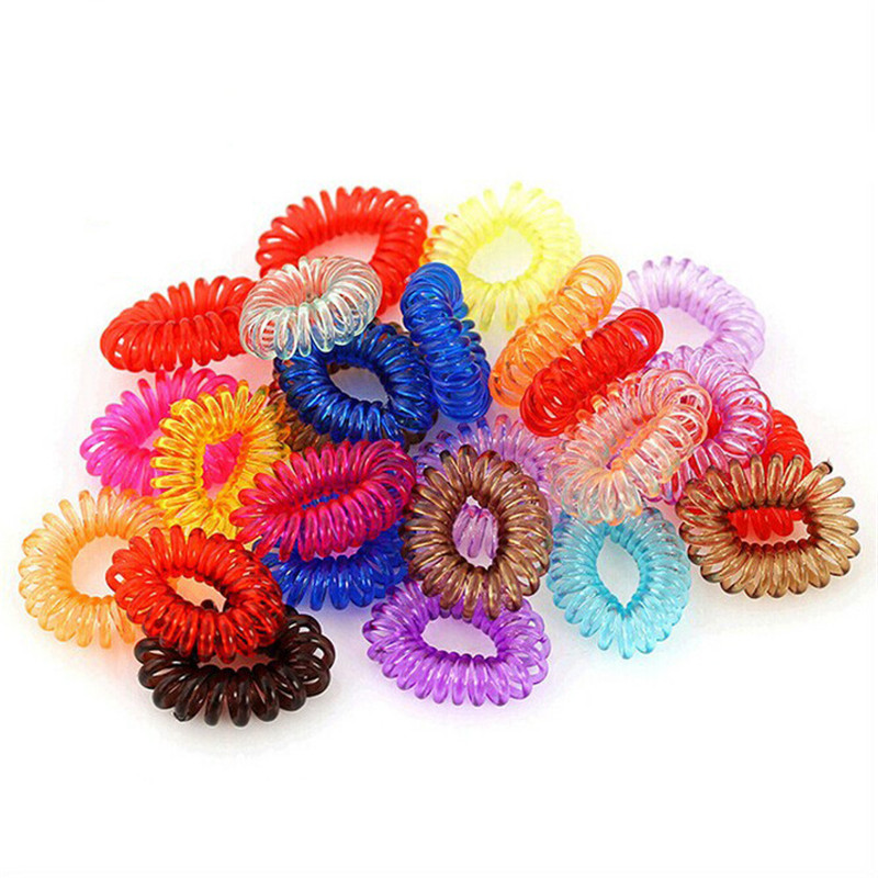20Pcs/lot Telephone line Hairbands Candy Headband Elastic Hair Bands Girl Ring Scrunchy Kids Small Ties Hair Accessories new flower knot elastic hair bands cotton kids headband scrunchy hair accessories easov w219