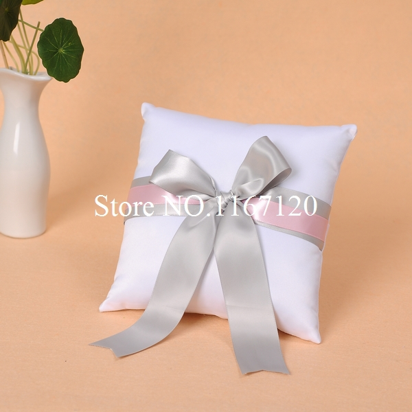 White and Pink Silver Bowknot Satin Ring Pillow for Wedding Party Stuff Accessories(P03)