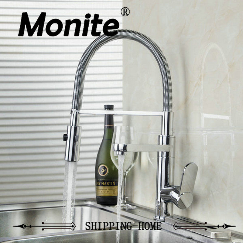 MONITE Double Function Solid Brass Pull Out Spray Faucet Chrome Single Handle Deck Mount Kitchen Sink Mixer Tap kitchen sink faucets lift rotatable pull out hose spray head chrome polish silver single handle solid brass deck mount mixers