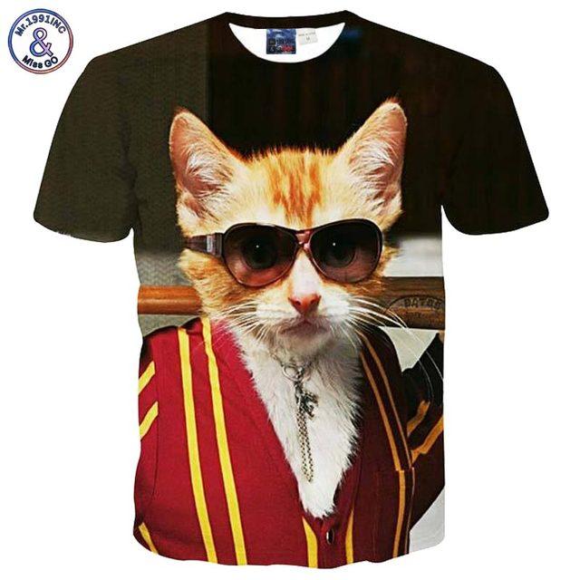 3D cat t-shirt gentleman