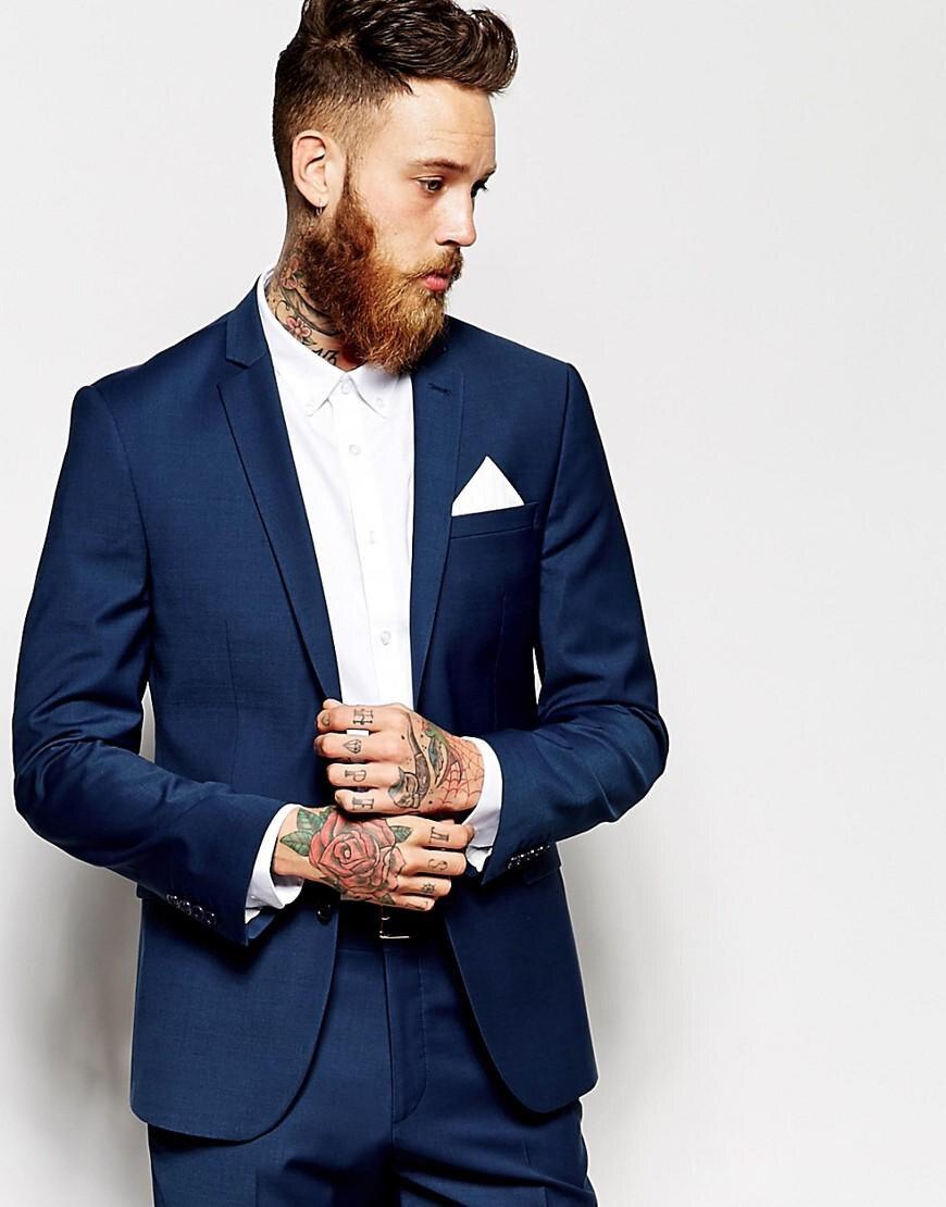 (Jacket+Pants)2019Custom Made Groom Tuxedos Groomsmen Dark Blue Vent Slim Suits Fit Best Man Suit Wedding Costume Homme Mariage