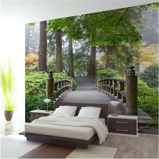 Beibehang Custom Mural Bridge Forest 3 D Landscape Background Wall Painting Photo Wallpaper For Walls 3d