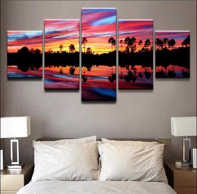 aliexpress : leinwand wandkunst bilder moderne 5 panel blau, Wohnzimmer