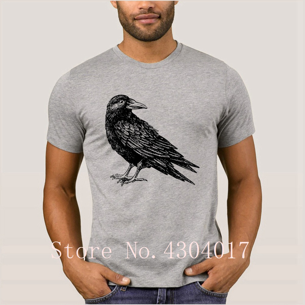 d4ac06d2 US $18.99  Wild Crow Drawing T Shirt Short Sleeve Printed Funny Men's T  Shirt Sunlight Homme Plus Size 3xl Hilarious Top Quality-in T-Shirts from  ...