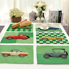 Retro Wedding Cartoon Car Pattern Cotton and Linen Placemat Green Base Fabric European American Rectangular Table Mat