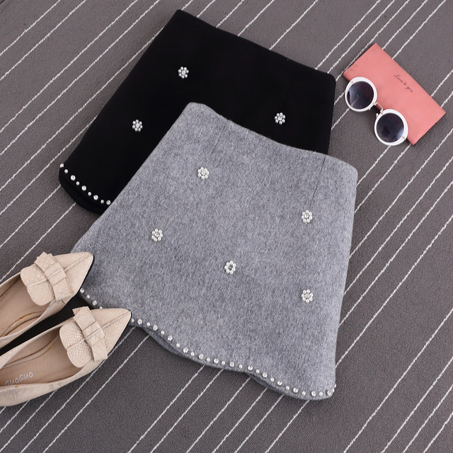 S / M / L new 2016 autumn fashion women sweet beading bag hip skirt tassels high waist solid color woolen skirts JN099