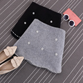 S / M / L novo 2016 moda outono beading saco hip saia borlas saias de cintura alta cor sólida de lã JN099