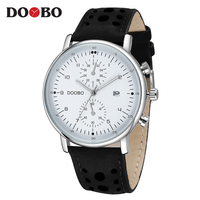 2017 Brand DOOBO Men Casual Watches Luxury Quartz Watches For Men Waterproof Auto Date Leather Wristwatches