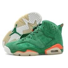 brand new e14bb c876d Jordan Retro 6 VI Men Basketball Shoes Gatorade Green Infrared Wheat Sport  Blue Athletic Outdoor Sport