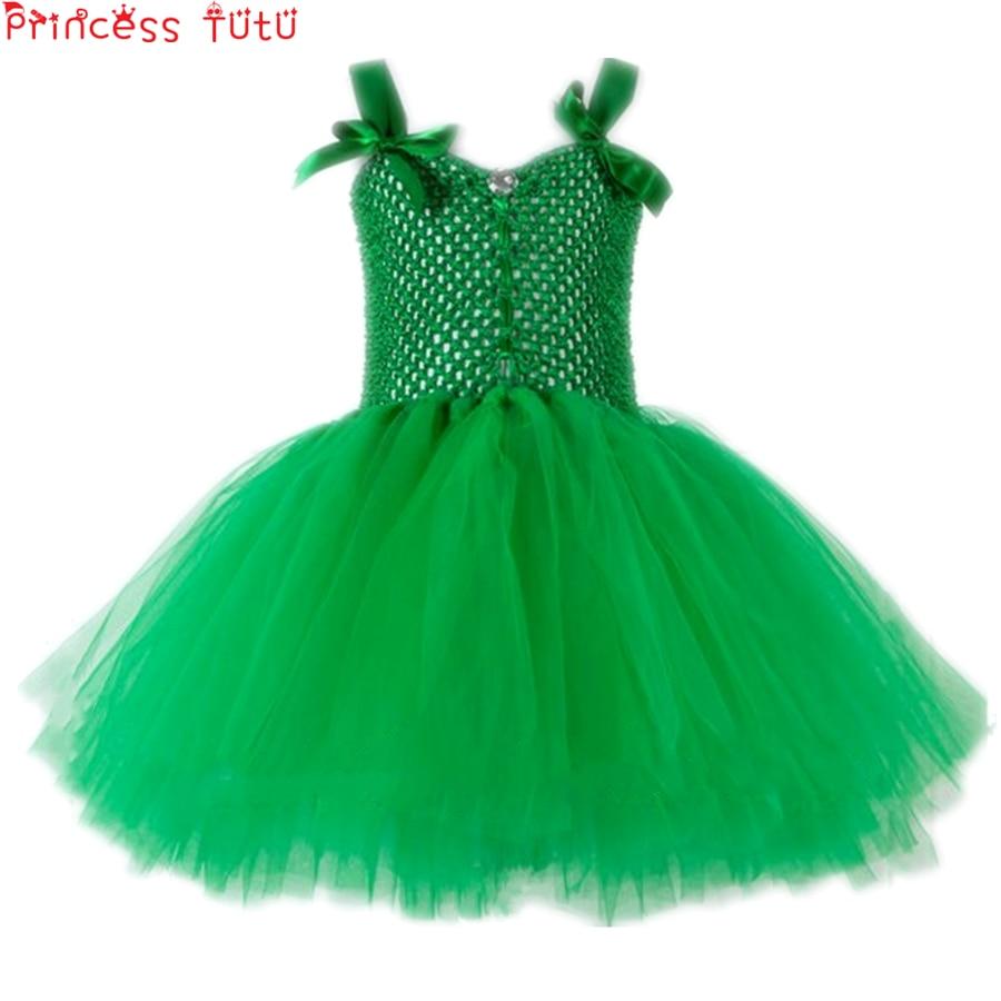 Tinkerbell Fata Vestito Dal Tutu Verde Fatto A Mano del Vestito Operato Costume Del Bambino Della Ragazza Di Compleanno Vestito Da Partito Di Natale St. patrick's Day Costume
