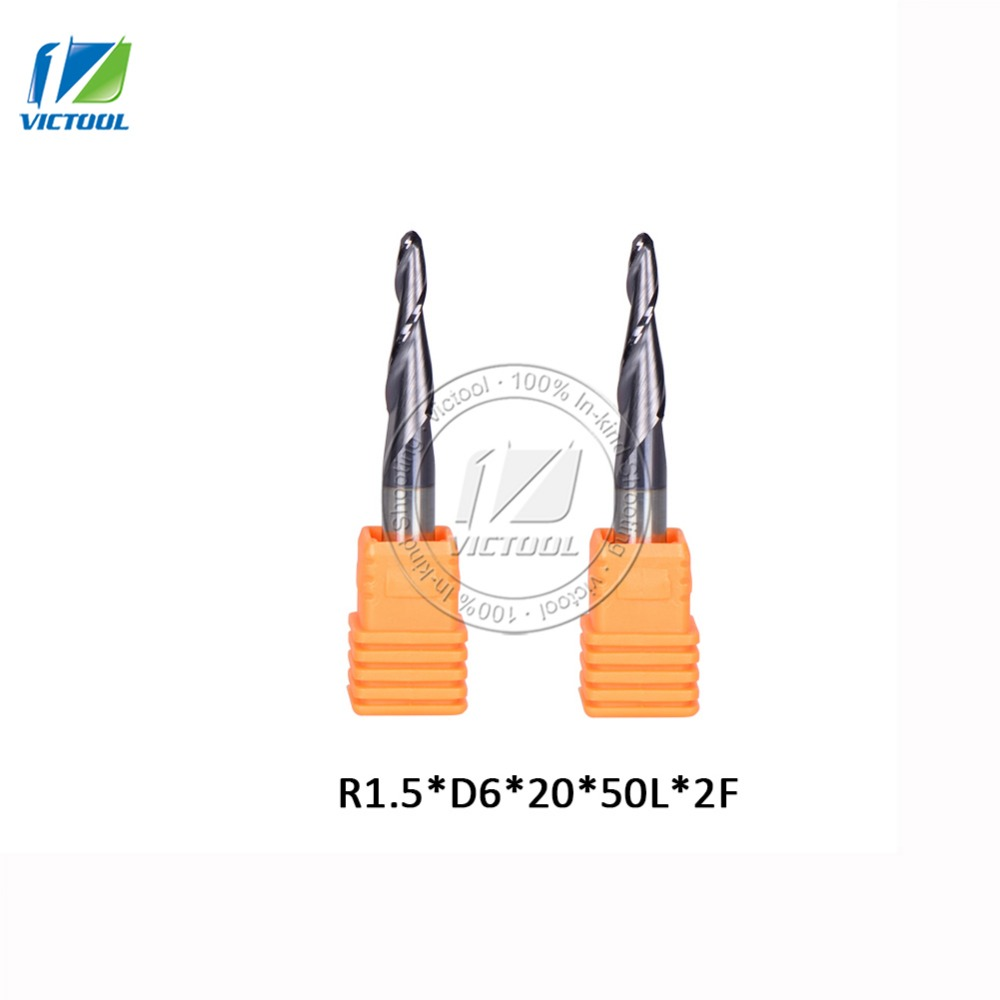 2PCS R1.5*D6*20*50L*2F YK25 HRC55 Tungsten solid carbide Coated Tapered Ball Nose End Mills taper and cone endmills
