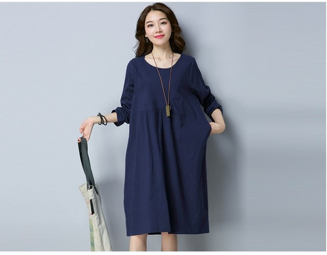 2899c329eb0 2018 Hot selling linen dresses girls casual summer holiday beach loose dress  red navy blue sleeve lady clothing dress 2XL M  A62