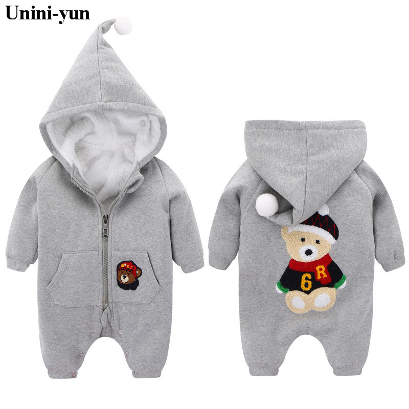 2017 Newborn Baby Clothes fleece Infant Baby Rompers Boy and Girl Long Sleeve Winter Romper Overalls hooded Baby Clothing Set infant baby girl rompers jumpsuit long sleeve for newborns baby boy brand clothing bebe boy clothes body romper baby overalls