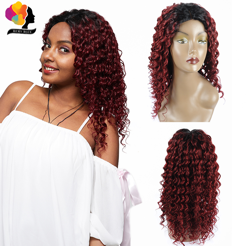 Remyblue 1B 99J Ombre Lace Front Human Hair Wigs Middle Part Closure Deep Wave Red Burgundy