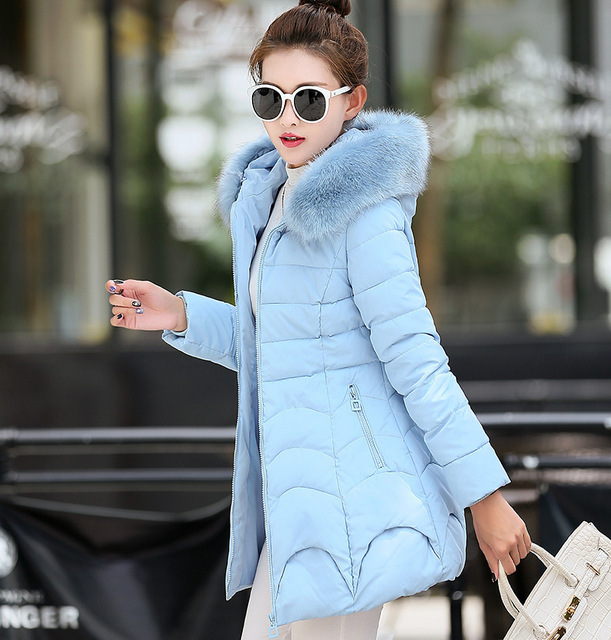 Womens Winter Jackets And Coats Sale 2016 New Cotton Girls Long Korean Large Size Collar Hooded Thickening Mianfu Woman Jacket