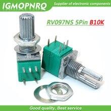 5 pces rv097ns 10 k único ligado b10k com um interruptor de áudio 5pin eixo 15mm amplificador potência selagem potenciômetro igmopnrq