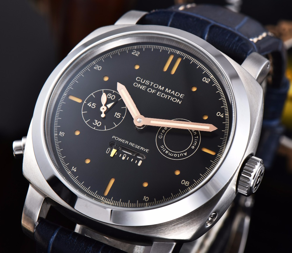 44mmPARNIS Power Storage Watch Automatic Movement Stainless Steel Mens High Quality Leather Strap Luminous Hands  H1110-344mmPARNIS Power Storage Watch Automatic Movement Stainless Steel Mens High Quality Leather Strap Luminous Hands  H1110-3
