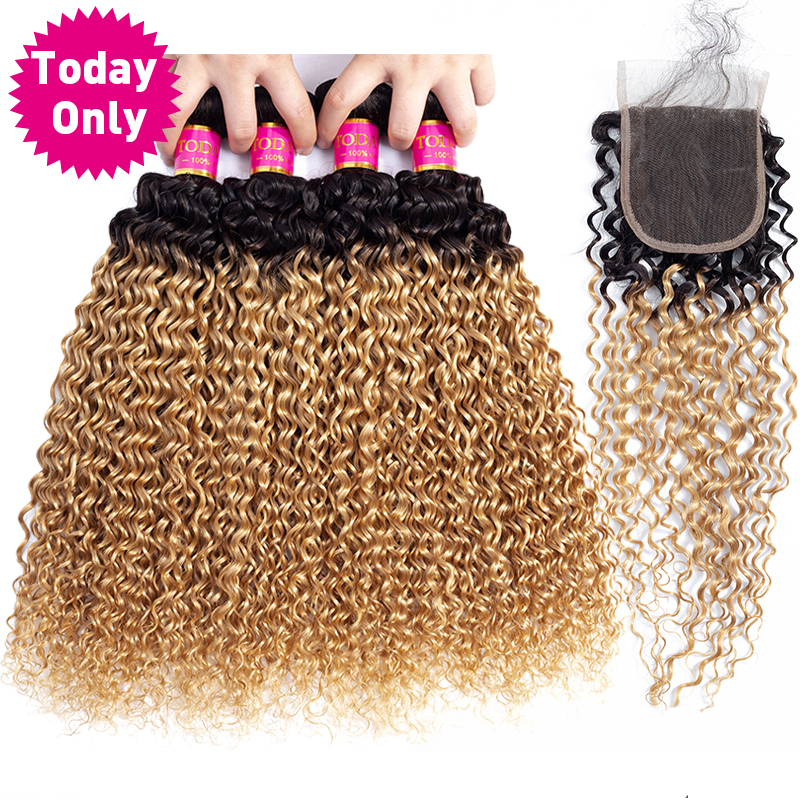 TODAY ONLY Blonde 3 4 Bundles With Closure Malaysian Kinky Curly Hair Bundles With Closure Remy
