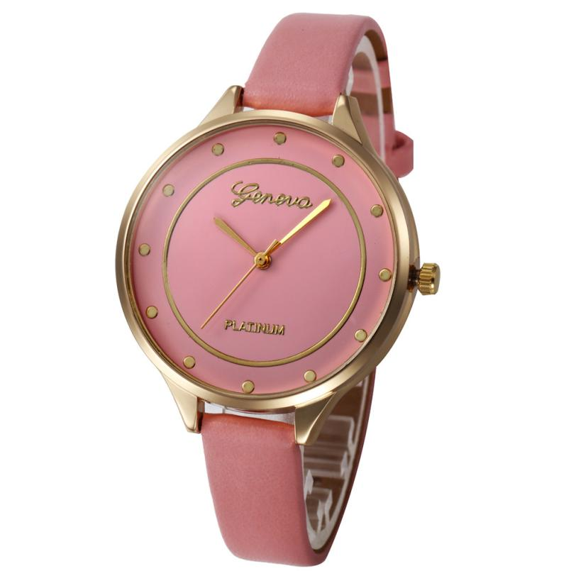 2018 Fashion Watch Leather Band Quartz Watches Casual Luxury Simple Big Dial Round Shape Business LED Wristwatch for ladies ladies women s fashion style casual watch leather round wristwatch heart love pattern dial with pink white black yellow relogio