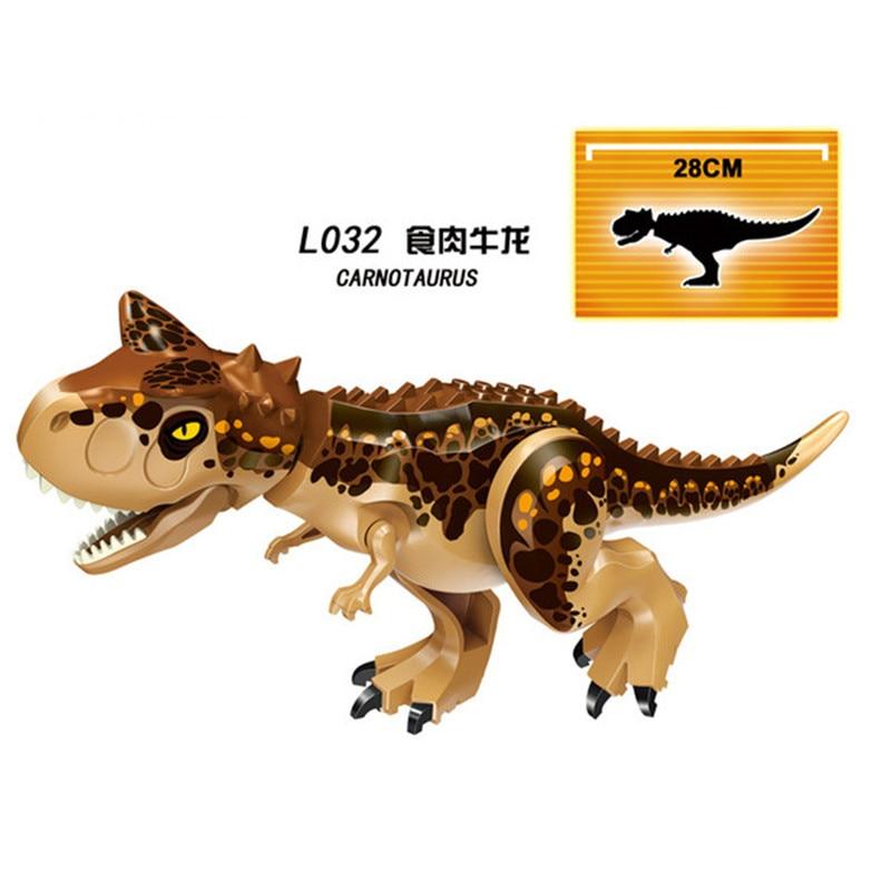7Pcs/Set Jurassic World Park Indoraptor Tyrannosaurus Rex Building Blocks Dinosaur Figures Bricks Action For Children Model Toys