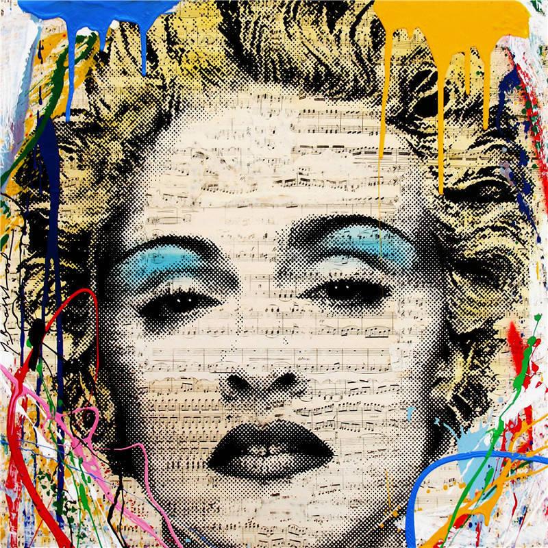 100% fait à la main Alec monopole Dilon garçon peinture à l'huile sur toile art urbain Marylin Monroe 24x24