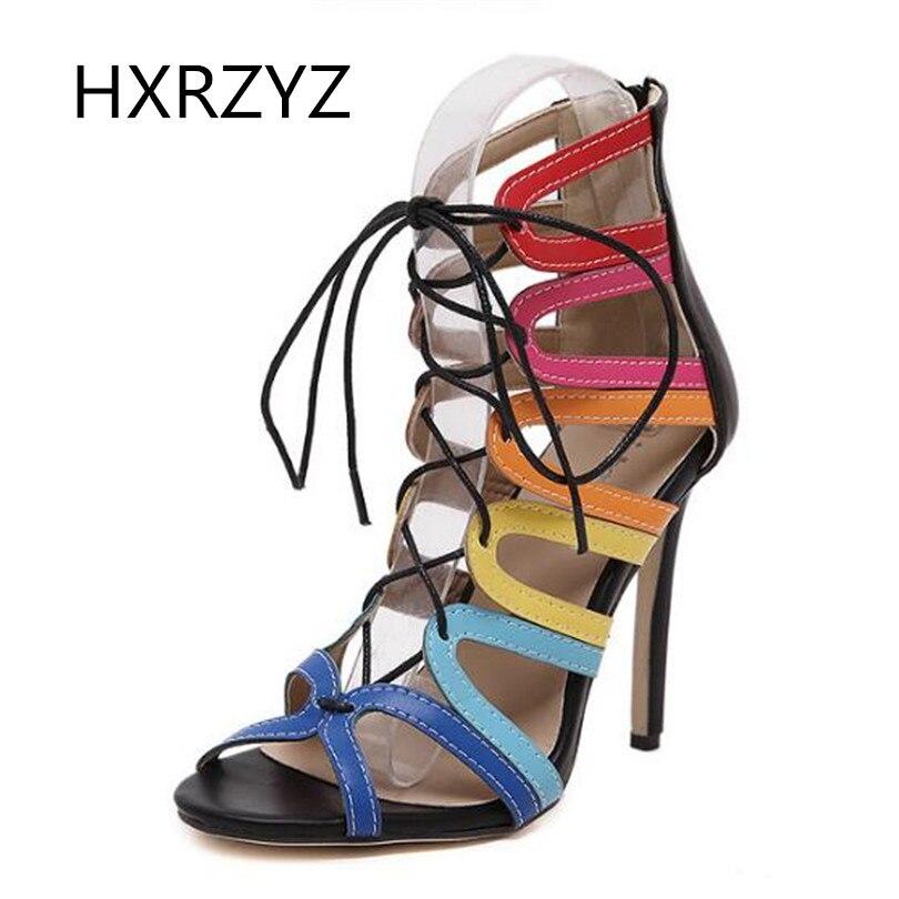 ФОТО Roman style Open Toe shoes woman new Sexy Fashion Rainbow boots Club 2017 Summer Women's super high heel sandals Boots women