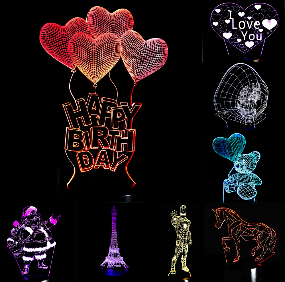 Christmas Valentine's Day 3D Romantic Love Heart LED Iron Man7 Color Change Night Light Lover Couple Birthday Memorial Day Gifts