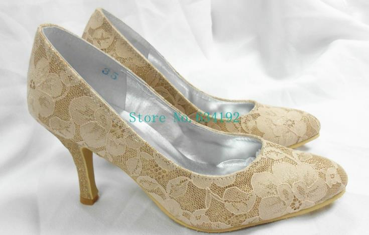 Aliexpress.com : Buy Custom Color Gold Lace Wedding Shoes For ...
