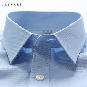 Image 4 - U & כריש Mens בסיסי שמלת חולצה רשמית עסקים אריג בד טיפול קל ארוך שרוול לבן חולצות חולצות חברתיות עבודה במשרד ללבוש