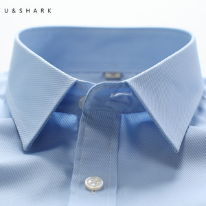 Image 4 - U&SHARK Mens Basic Dress Shirt Formal Business Twill Fabric Easy Care Long Sleeve White Tops Shirts for Social Work Office Wear
