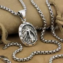LINSION 925 srebro rzym zegar okrągły wisiorek krzyż biżuteria punkowa 9R007