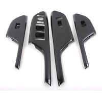 YAQUICKA 4x Carbon Fiber Style Car Interior Armrest Window Lift Switch Button Cover Trim Bezel For