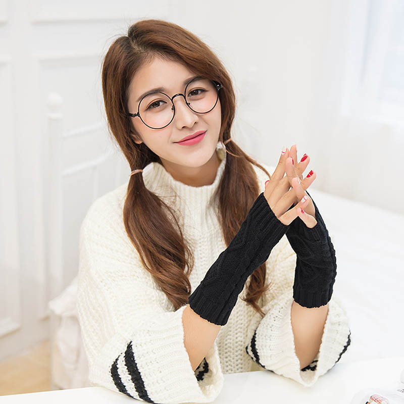 New Arrival 1Pair Women Winter Spring Fingerless Gloves Warmer Long Knitted Arm Gloves