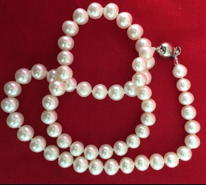 stunning 9-10mm south sea round white pearl necklace 25inch 925s