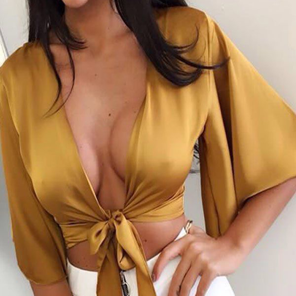 Summer Women blouse 2018 new arrival Sexy Casual V neck Bandage Silk Satin Midriff Tops Crop Top