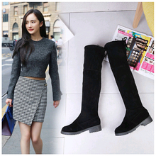 New Stretch Faux Suede High Thigh Boots Women Sexy Over The Knee Boots Lace Up Round Head Long Women's Winter Boots Jack Boots