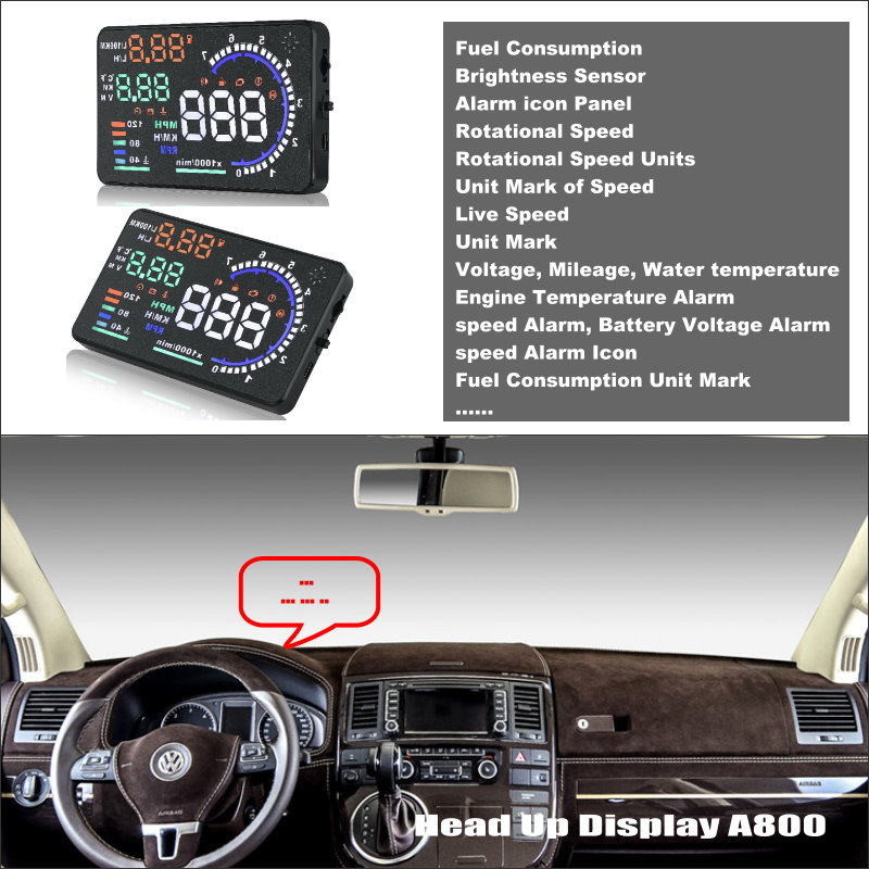 Car HUD Safe Drive Display For Volkswagen VW Transporter T5 - Reflect car information onto windshield to maintain Clear headed ...