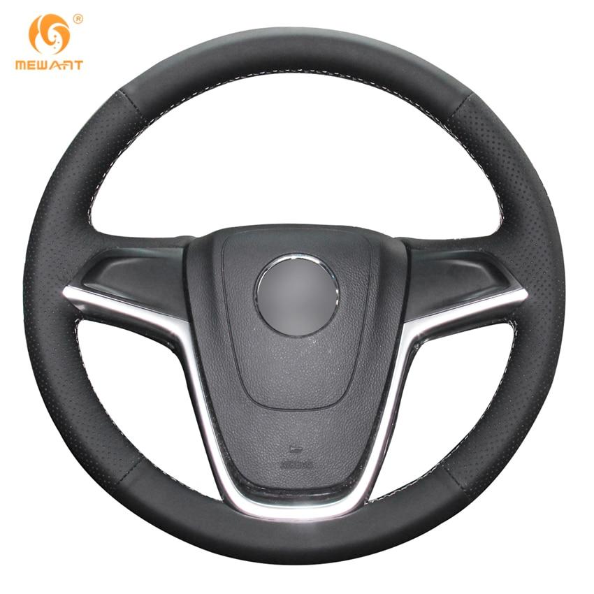 MEWANT Black Genuine Leather Car Steering Wheel Cover for Buick Excelle XT GT Encore Opel Mokka цены онлайн
