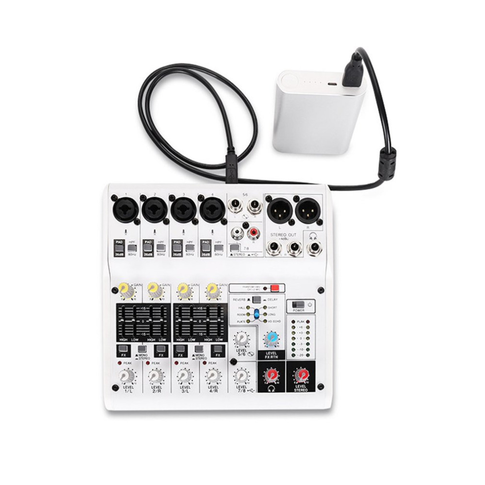 8-Channel Sound Card Digital Audio Mixer Mixing Console Built-in Support Powered With Power Adapter USB Cables цена и фото