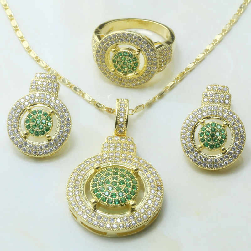 Otogo Transing charm Angel Gold Color Tray Green Crystal Zircon jewelry making Ring Earrings Pendant Necklace Women Wedding S273