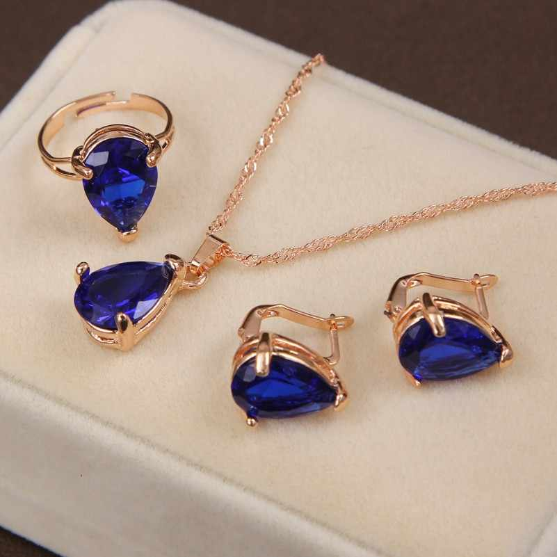 Luxury Women Wedding Necklace Earrings Adjustable Ring Bridal Jewelry Set Gold Chain AAA Zircon Crystal Anniversary Gift