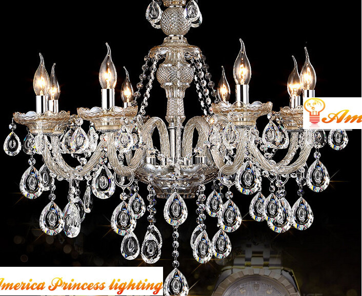 Cozy living room European-style luxury crystal  bedroom lamp crystal candle chandelier lamp American country, AC110-240V luxurious crystal pendant lamp the european style living room lamps and lanterns creative bedroom crystal chandelier