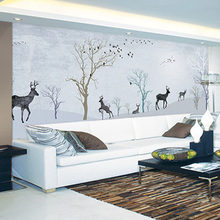 Custom Print DIY Fabric & Textile Wallcoverings For Walls Cloth Jacquard Linen For Living Room Murals Wallpaper Deer Trees Top(China)