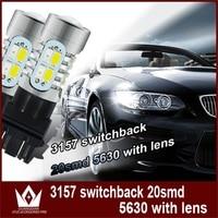 Tcart 2pcs Auto Led Bulbs 3157 5730 20smd Car DRL Turn Signals White Amber T25 3157 Car LED Lamps Brake Lights For Toyota Venza