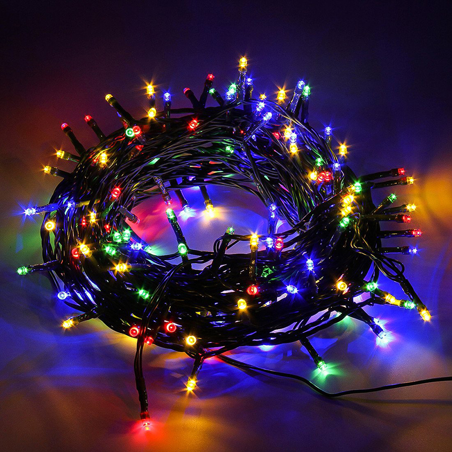 AC220V Green Cable 10M 100 LED String Fairy Light Holiday Lighting Outdoor Christmas Tree Wedding Party Decoration Garland Light