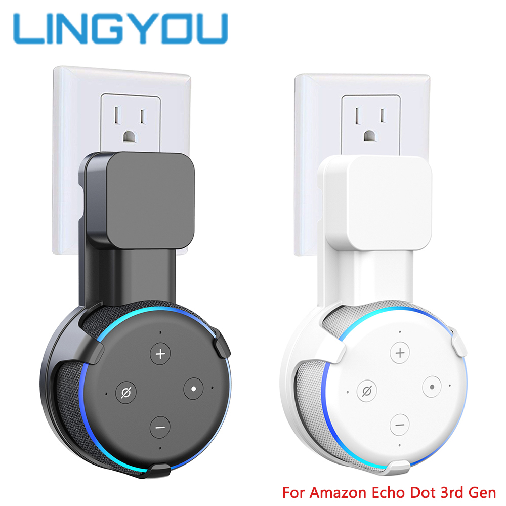 Household Outlet Wall Mount Stand Hanger With Cable Winder For Amazon Echo Dot 3rd Gen Plug In Kitchen Bathroom Bedroom