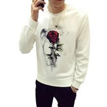 Осенняя футболка с круглым вырезом и цветочным рисунком розы мужская длинная футболка Повседневная 100 хлопковая забавная футболка мужской с длинными рукавами уличная одежда тренд